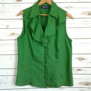 Jones New York Kelly Green Ruffle Front Linen Top